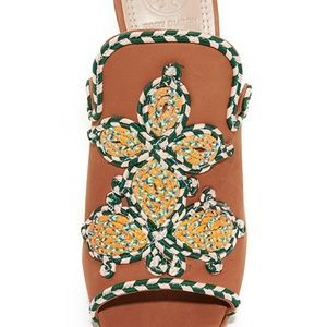 Tory Burch Shoes - NWT TORY BURCH BROWN WITH FLORAL DETAIL MULES
